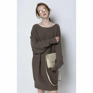 CAARA Brown Cable chunky Knit Sweater Dress